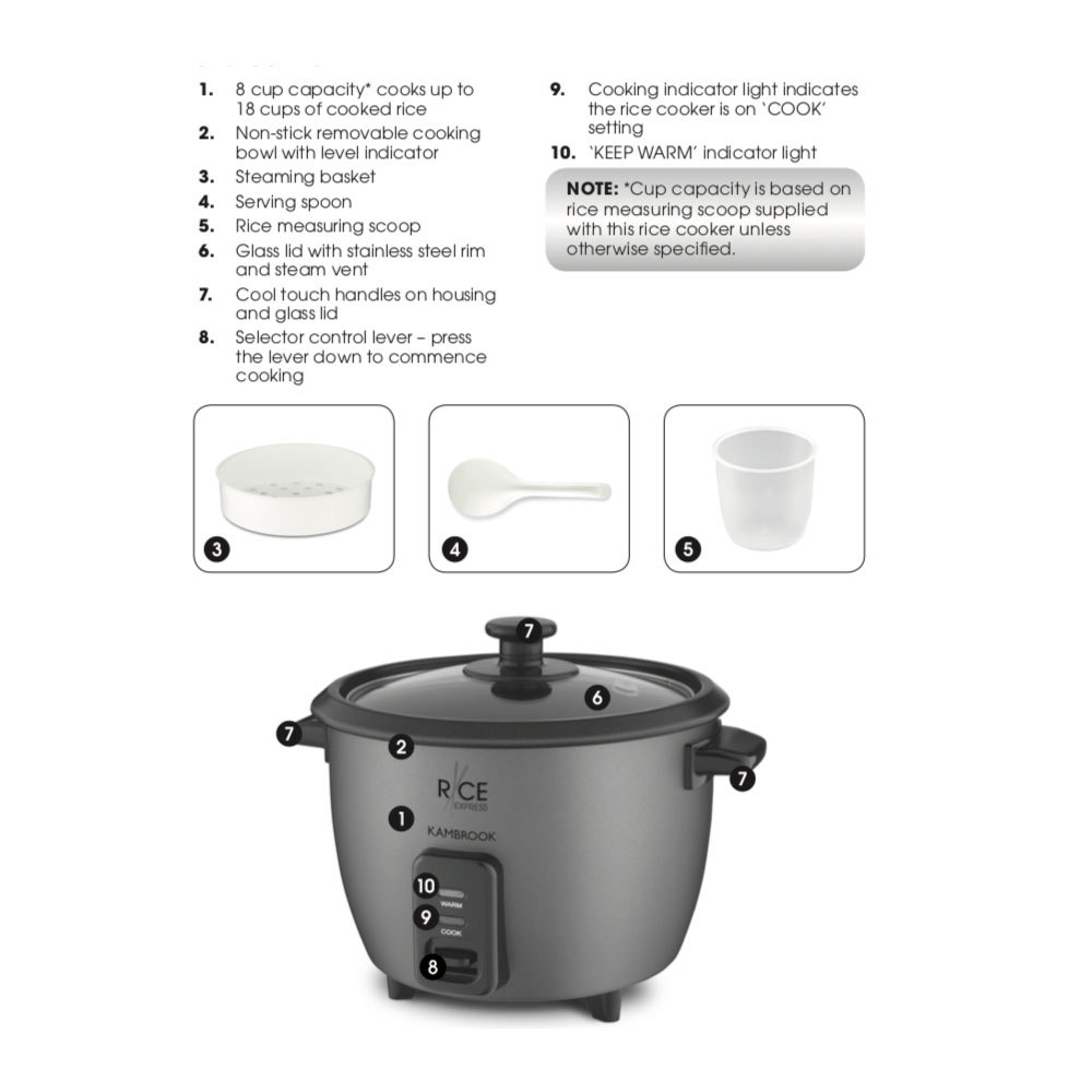 instructions for cooking rice in small kambrook rice cooker