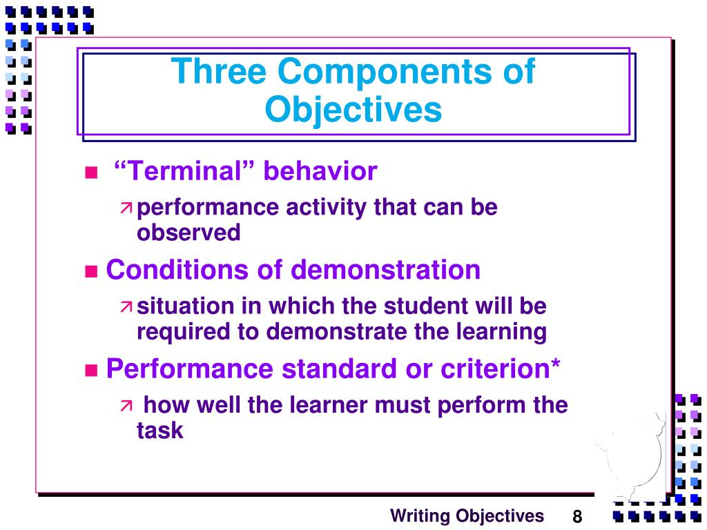 skill of writing instructional objectives